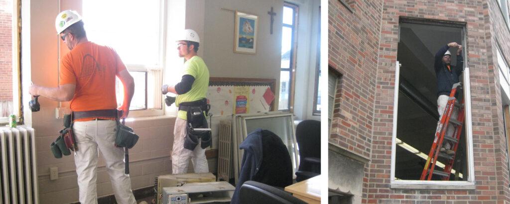 Installing new energy efficient windows.